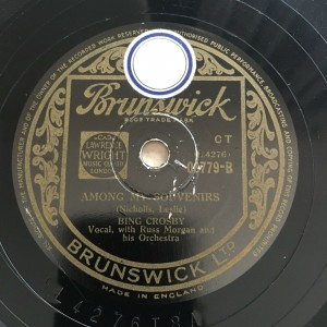 BING CROSBY - AMONG MY SOUVENIRS / TEMPTATION Brunswick 3779