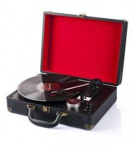 Black turntable suitcase, gramophone 33/45/78 RPM, electric, new, GRATIS