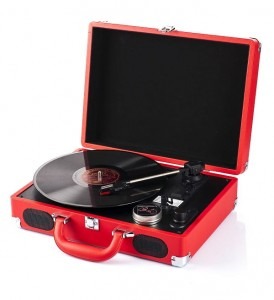 Red turntable suitcase, gramophone 33/45/78 RPM, electric, new, GRATIS
