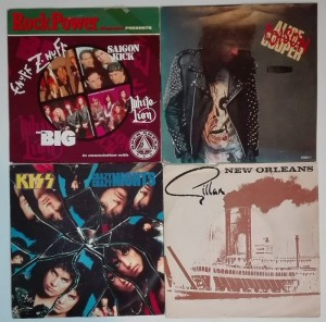 4 winylowe single- Alice Cooper/KISS/Gillan/Rock Power