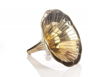 Gramophone speaker brass horn tube GOLD smooth
