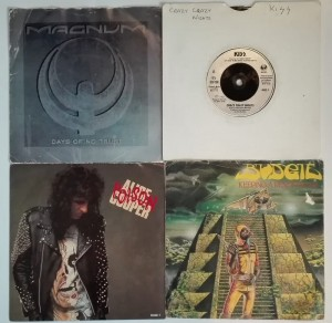 4 winylowe single - Alice Cooper/KISS/Magnum/Budgie